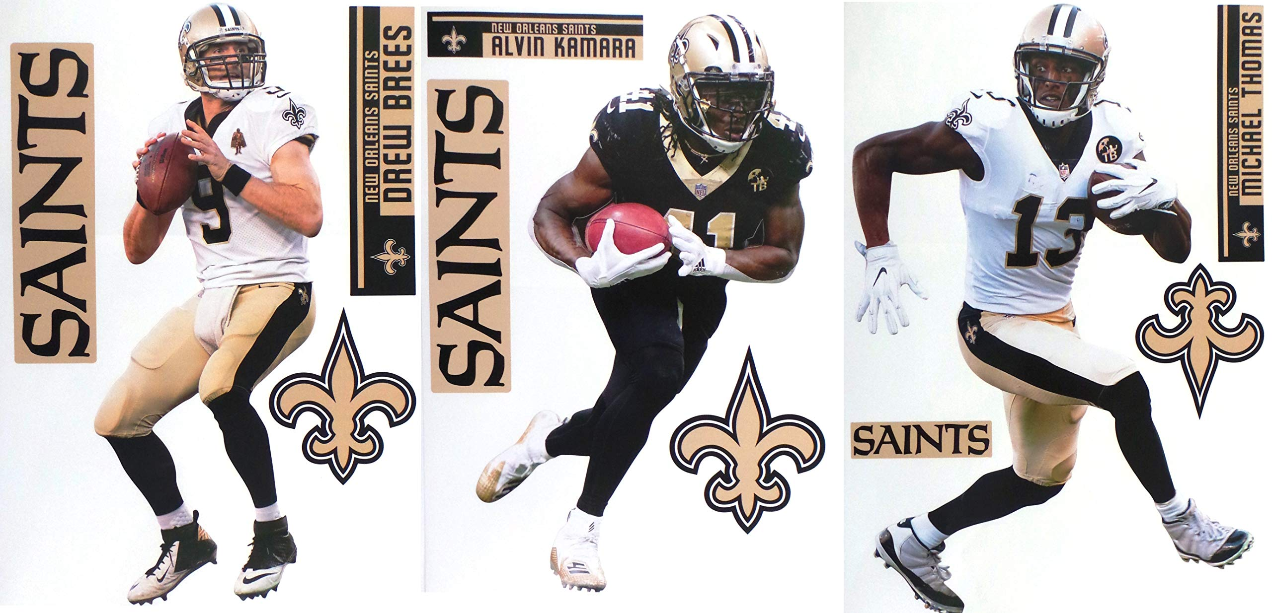 FATHEAD New Orleans Saints Collection 3 Players + Saints Logo Sets Official NFL Vinyl Wall Graphics - Each Player Graphic 17'' INCH - Brees, Kamara, Thomas by FATHEAD