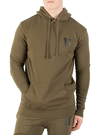 11 Degrees Hombre Sudadera con capucha del logotipo de la base, Verde: Amazon.es: Ropa y accesorios