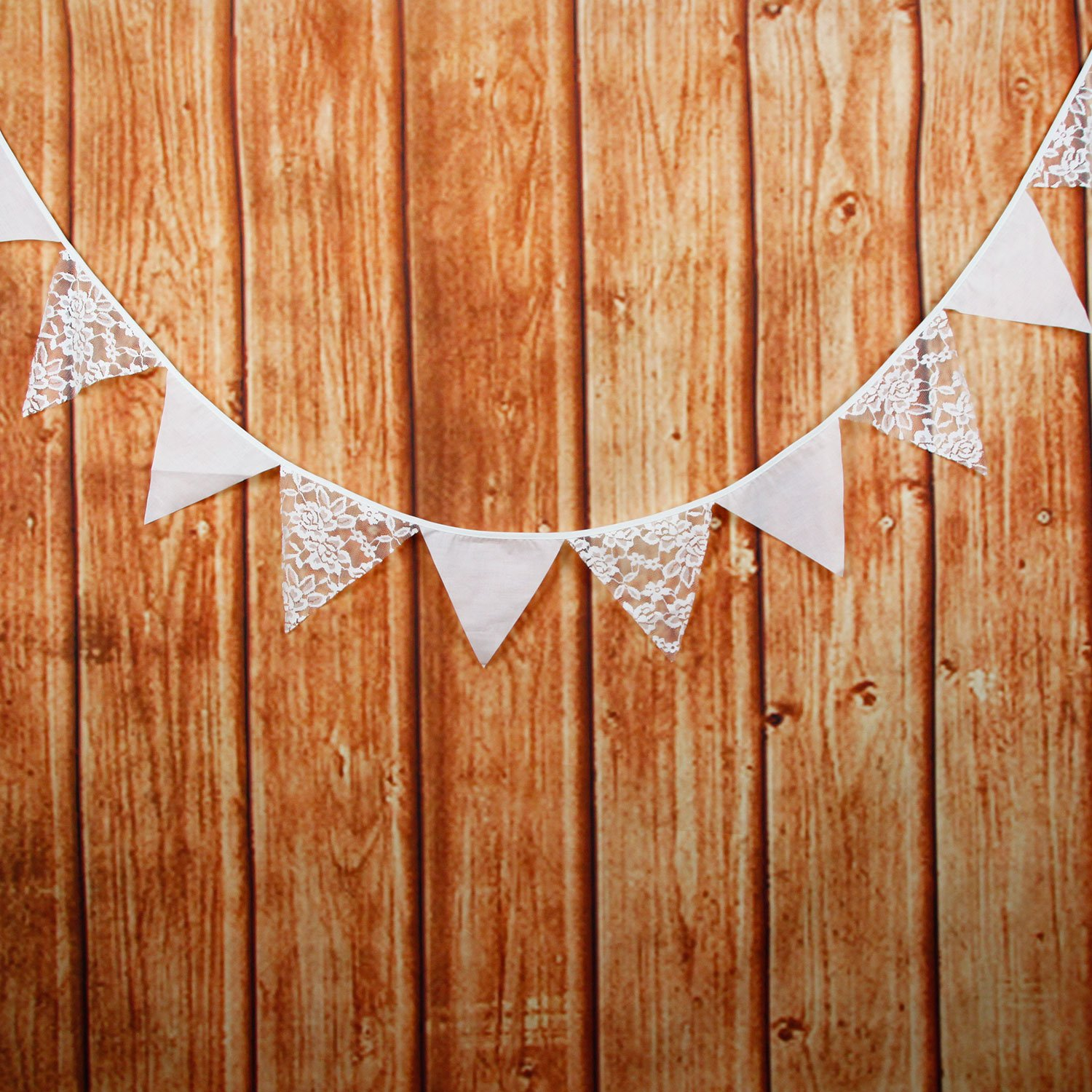 INFEI White Rose Flower Lace /& Cotton Fabric Flag Buntings Garlands Wedding Birthday Party Decoration Bridal Shower SuperSockMonkeys