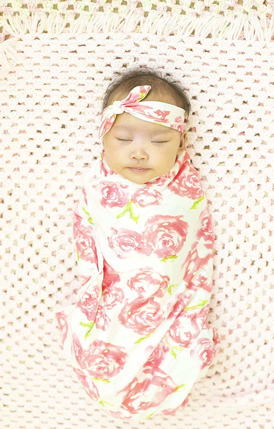 Newborn Receiving Swaddle Wrap Big Blanket and Headband Set for Baby Shower Girl Gift