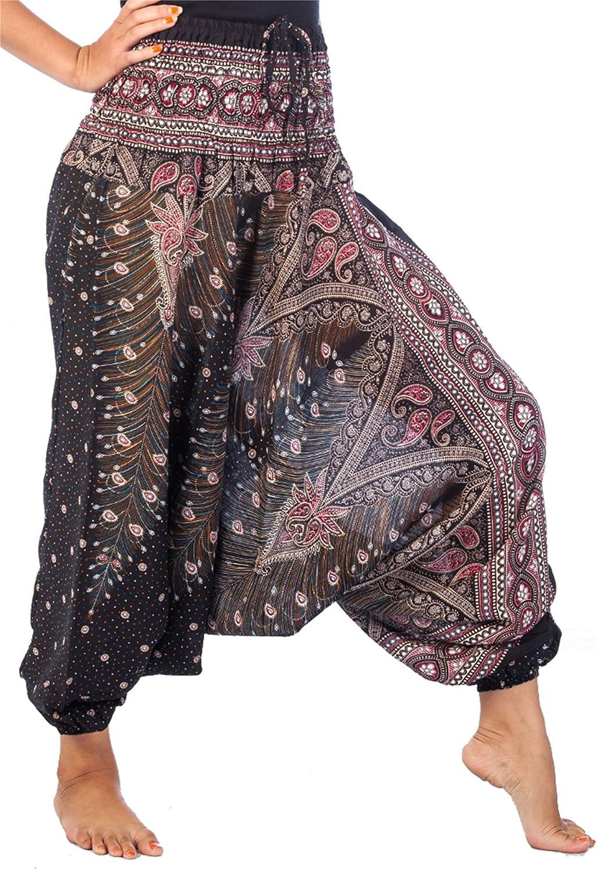 LOFBAZ Yoga Harem Pants for Women Boho Hippie Bohemian Beach Baggy Jumpsuit