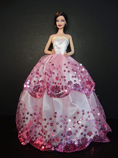 Pink White Ball Gowns