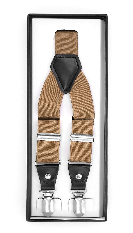 Ferrecci Mens Womens Unisex Premium Adjustable Solid Color CLIP-ON Suspenders SUS-BURG CLP