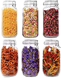 ComSaf Airtight Glass Canister Set of 6 with Lids Food Storage Jar Square - Storage Container with Clear Preserving Seal Wire Clip Fastening for Kitchen Canning Cereal,Pasta,Sugar,Beans,Spice