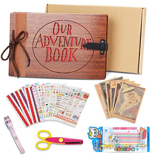 Upgraded Our Adventure Book Scrapbook Faux Wood Photo Album(80 Pages).Pixar Up Handmade DIY Family Anniversary Scrapbook, Wedding Travel Child's Retro Photo Album with DIY Accessories Kit and Gift Box