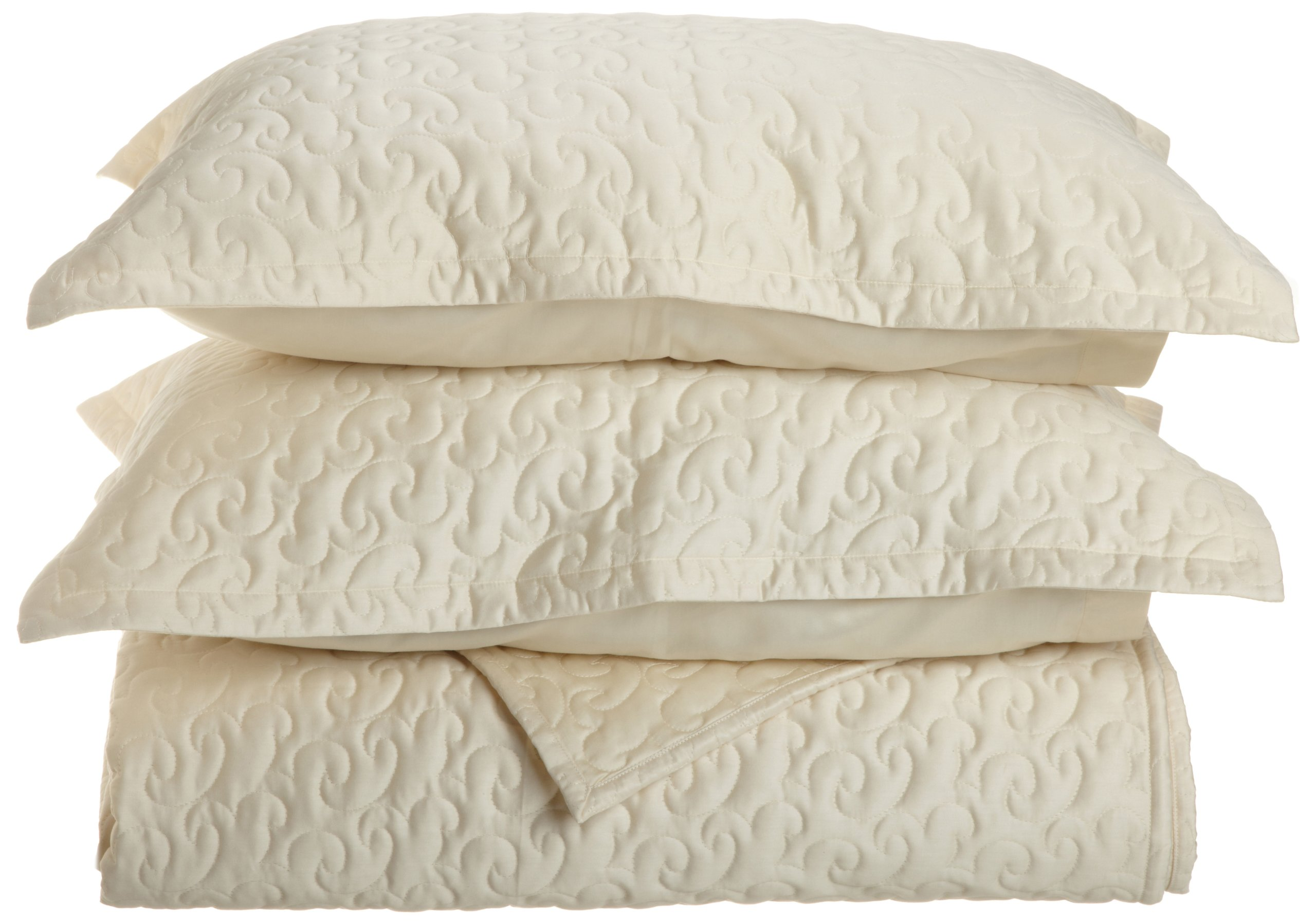 Tuscany Fine Italian Linens Egyptian Cotton Quilted Coverlet Set, Queen, Ecru