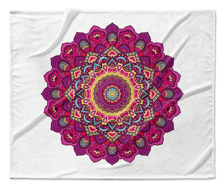 KAVKA Designs Serendipity Fleece Blanket, Size: 50x60x1 - TELAVC029VPM Pink//Blue//Yellow//Purple - BOHEMIA Collection