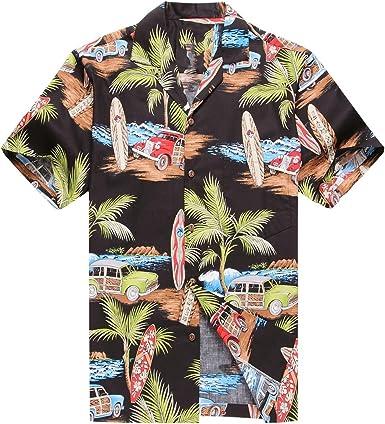 Hecho en Hawaii Camisa Hawaiana de los Hombres Camisa Hawaiana Plam Surfboard Coches en Negro: Amazon.es: Ropa y accesorios