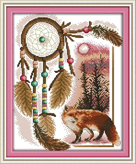 CaptainCrafts New Stamped Cross Stitch Kits Preprinted Pattern for Beginner Kids and Adults Bear Giving Flowers DIY Artwork Needlecrafts Stamped 11CT 13/×15.8 inch