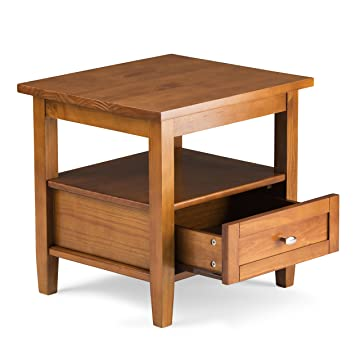 Simpli Home Warm Shaker Solid Wood End Table, Honey Brown