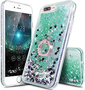 iPhone 7 Plus Glitter Case with Stand,iPhone 8 Plus Clear Waterfall Case Ultra Thin Slim Fit Bling Glitter Quicksand Cases Cover with Ring Stand Holder for Apple iPhone 7 Plus/iPhone 8 Plus (Green)