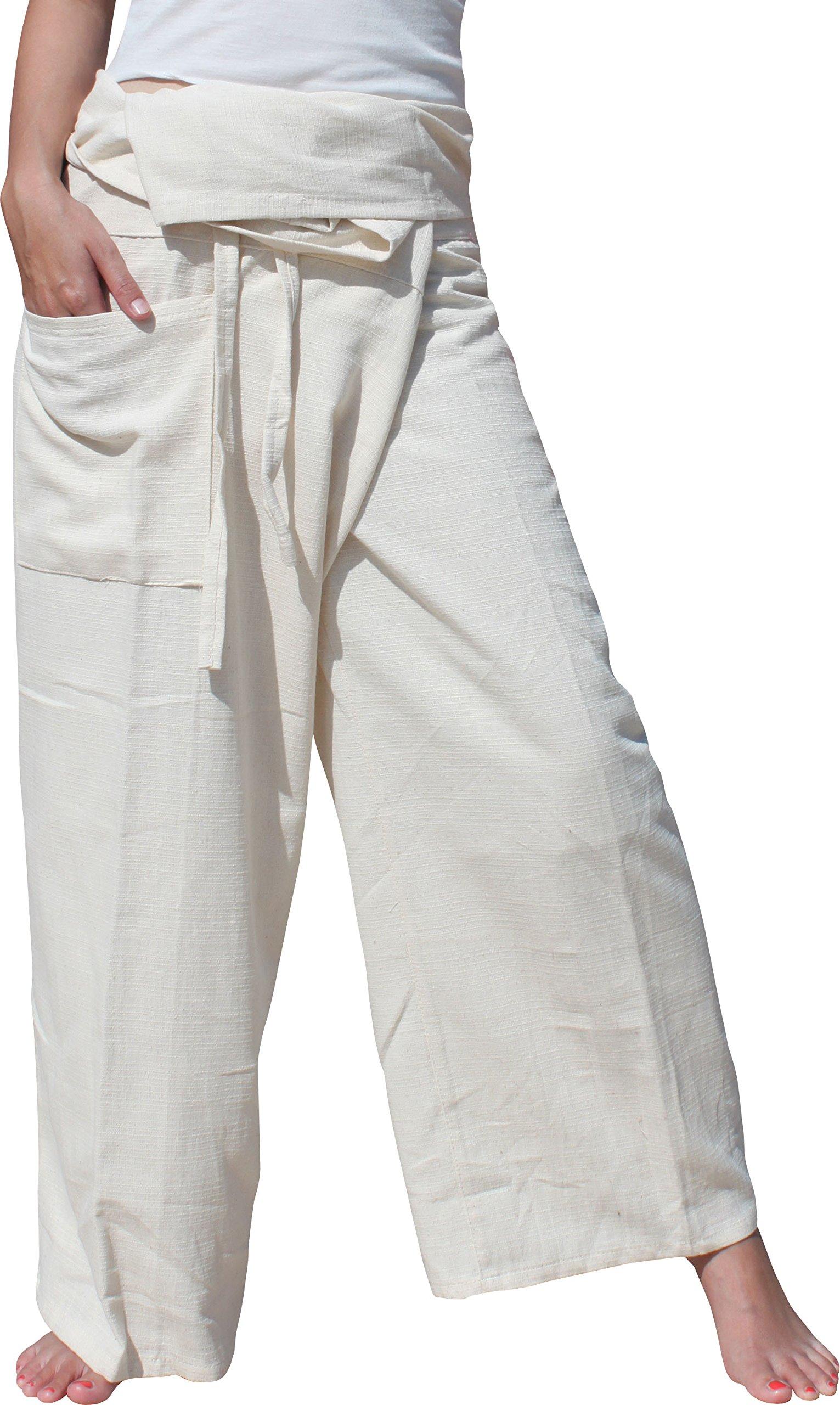Raan Pah Muang Brand Plain Thick Line Cotton Thai Fisherman Wrap Tall Length Pants, X-Large, Cream by Raan Pah Muang