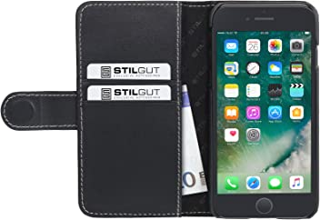 "StilGut Talis Case con Tasca per Carte, Custodia in Pelle Cover per iPhone 7 Plus & iPhone 8 Plus (5,5""). Chiusura a Libro Flip-Case in Vera Pelle Lavorata a Mano, Nero Nappa"