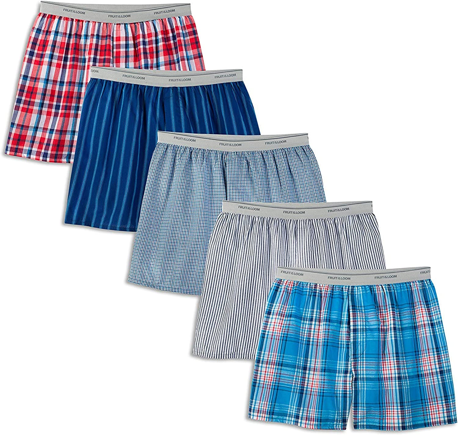 Fruit of the Loom Men's Woven Tartan and Plaid Boxer Multipack