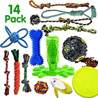 SHARLOVY Dog Chew Toys for Puppies Teething, 14 Pack Natural Cotton Dog Rope Toys with Ball…