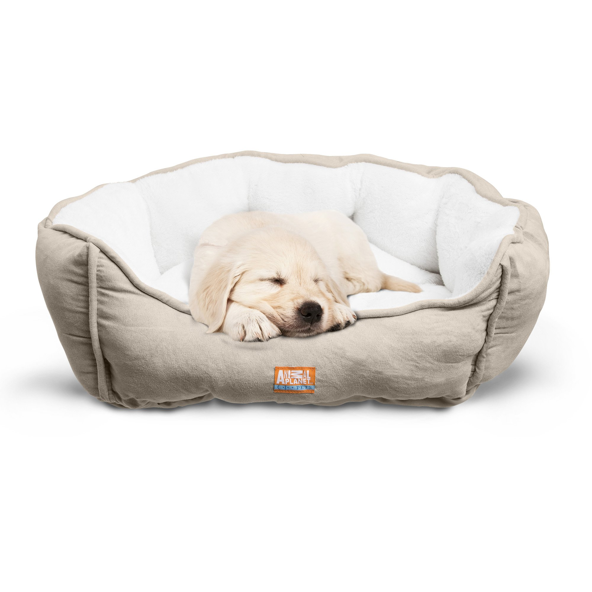 "Animal Planet Round Plush Micro Suede & Sherpa Bolster Pet Bed Dogs & Cats, Puppies Small & Toy Breeds; Cuddly Warm Burrowing Snuggling, Easy-to-Clean 24""x 17""x 9"" TAN"