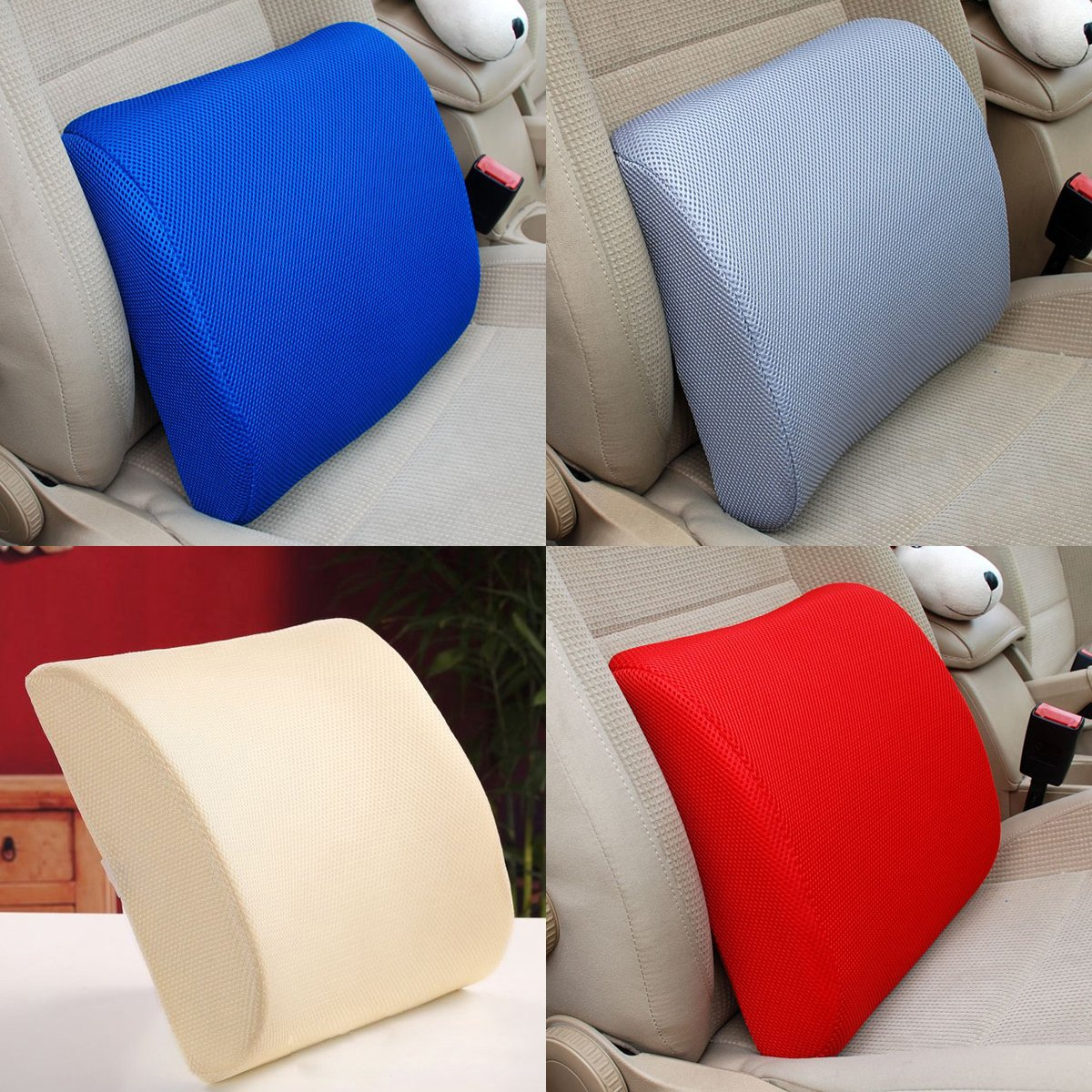 Excellent High Resilient Memory Foam Blue Car Office Seat Back Pain Support Cushion Pillow Pad Chair Lumbar Lower ache