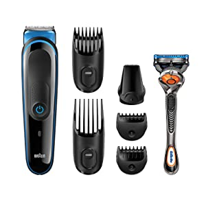 All-in-One Beard Trimmer for Men by Braun, MGK3045, 7-in-1 Precision Trimmer for Beard and Hair Styling, Detail Trimmer Attachment, 2 Beard Styling Combs, with Gillette ProGlide Razor, Black/Blue