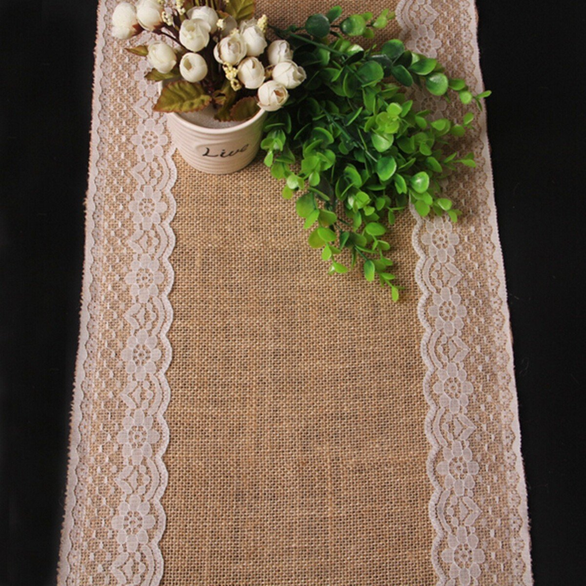 KING DO WAY Natural Hessian Jute Burlap Fabric Lace Table Runner Rustic Wedding Upholstery Decoration as picture 176cm x 30.5cm