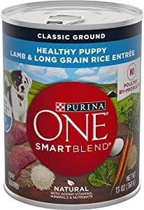 Purina ONE Natural Pate Wet Puppy Food, SmartBlend Healthy Puppy Lamb & Long Grain Rice Entree - (12) 13 oz. Cans