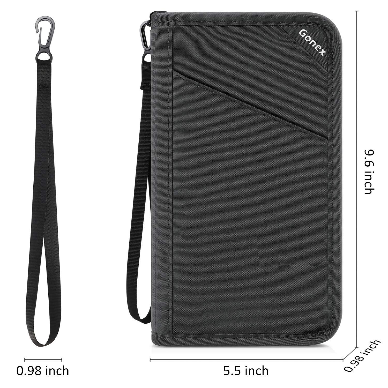 Water-Repellent Ultra marine blue Gonex Passport holder RFID Blocking Travel Wallet with Removable Wristlet Strap for Men/& Women