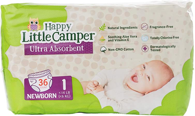 Happy Little Camper Natural Diapers, Size 1 (<14 lbs) - Disposable Cotton Baby Diapers with Aloe, Ultra-Absorbent, Hypoallergenic and Fragrance Free for Sensitive Skin, 36 Count