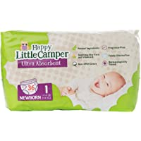 Happy Little Camper Ultra Absorbent Premium Natural Nappies, Newborn, Size 1 (<6 kg), 36 Count