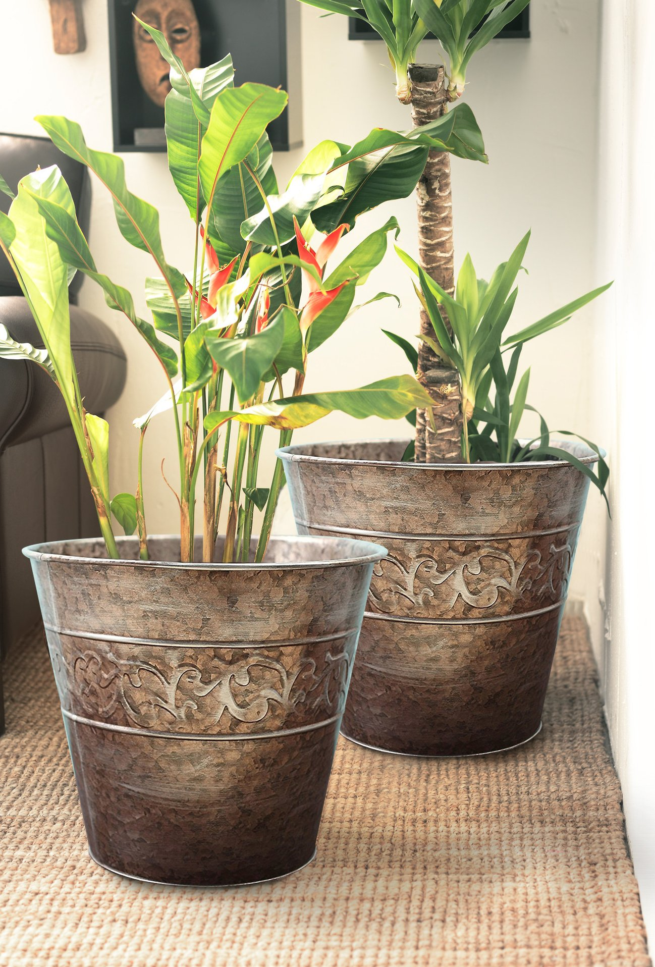 Flower pots Planters 13 inch Set 2, Outdoor and Indoor, Galvanized Gardening Pots for Plants by LA JOLIE MUSE