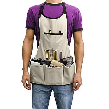 Delantal (14 bolsillos) - 62 x 58cm Encerado Ajustable Impermeable Delantal para Jardín, Alfarería, Garaje, Trabajo, Soldar: Amazon.es: Jardín