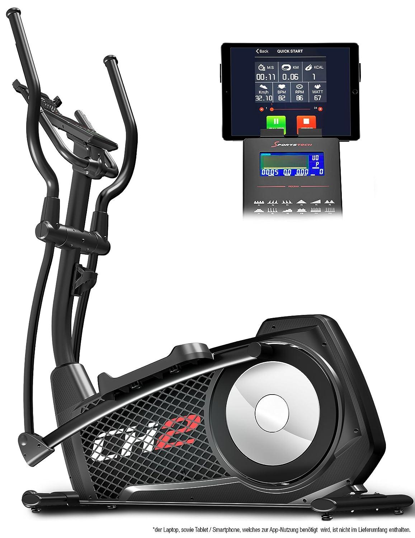 Sportstech CX2 Crosstrainer mit Smartphone App & integriertem Stromgenerator-Ellipsentrainer inkl. Blautooth Konsole und Tablet-Halterung-Ergometer mit 27 Kg Schwungmasse