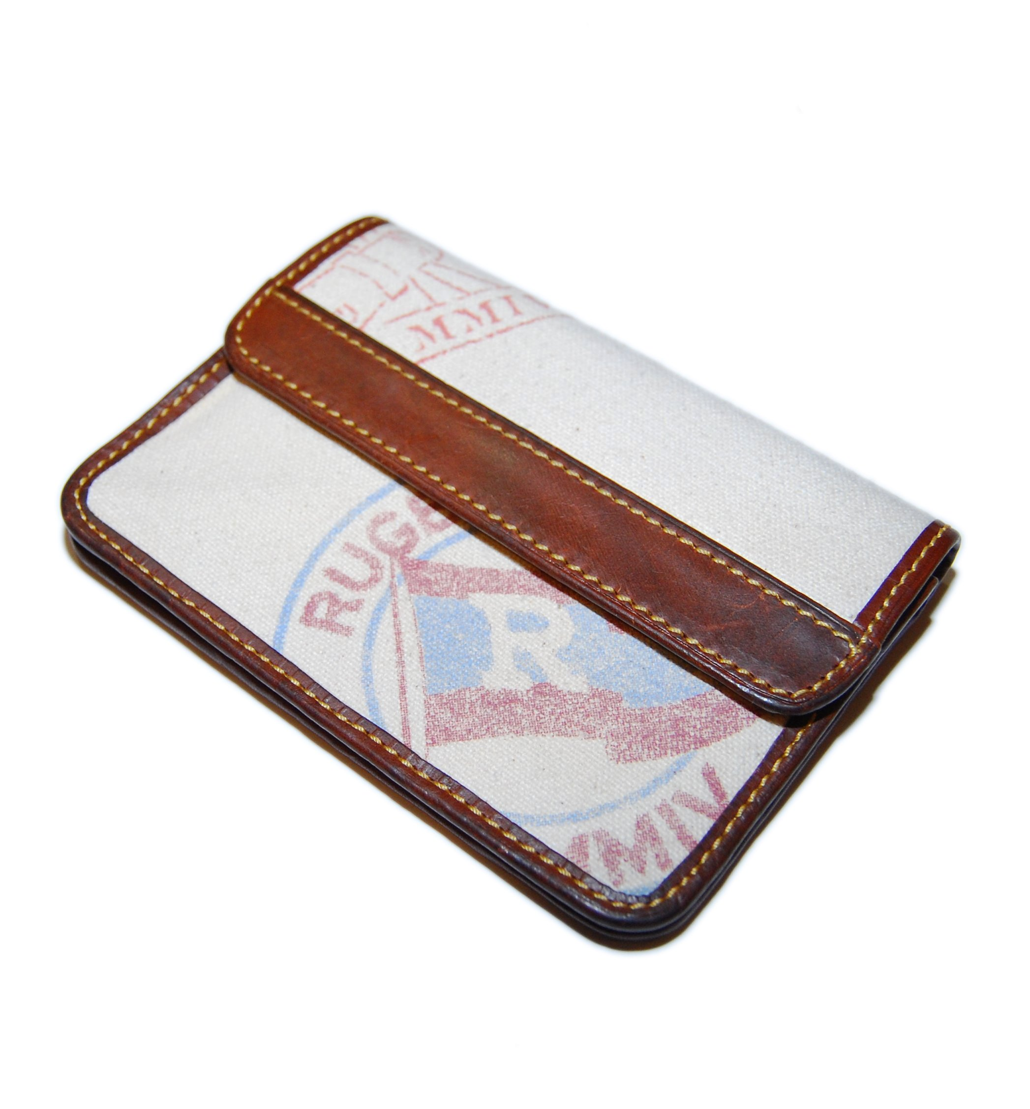 Polo Ralph Lauren Rugby Mens Zip Snap Coin ID Wallet Canvas Leather Brown Beige