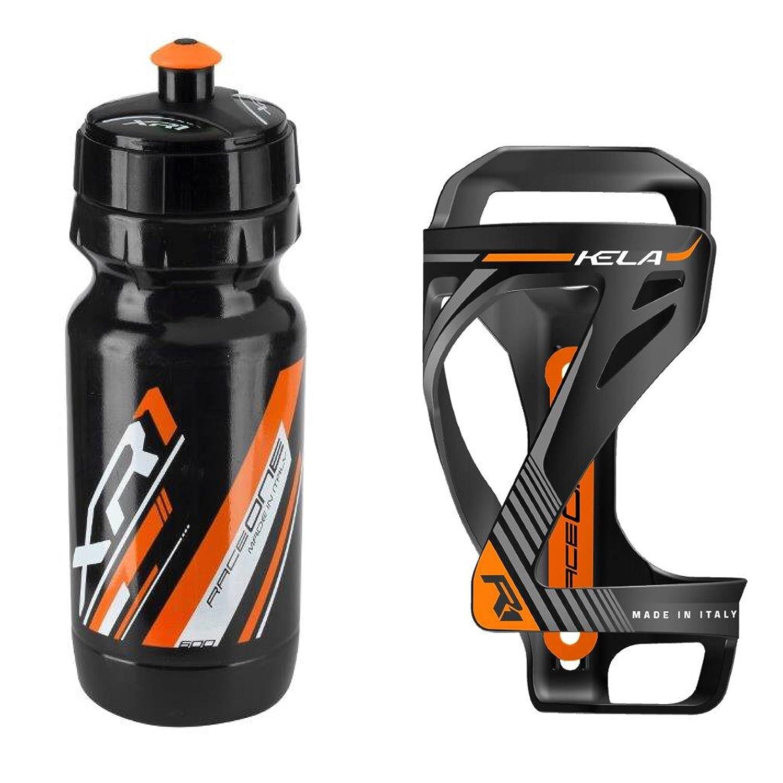Raceone.it - Kit Race Duo KELA (2 PCS): Bottle Cage KELA + Bike Water Bottle XR1 - Wasserflaschenhalter Fahrrad Cycling/MTB / Gravel. 100% Made in Italy Raceone Srl