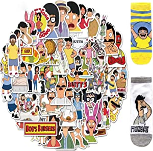 50Pcs Stickers for Bobs Burgers Stickers Pack (with 2 Pairs of bobs Burgers Socks). Waterproof Colorful Stickers for Car, Laptop, Luggage, Bicycle Decal Graffiti Patches