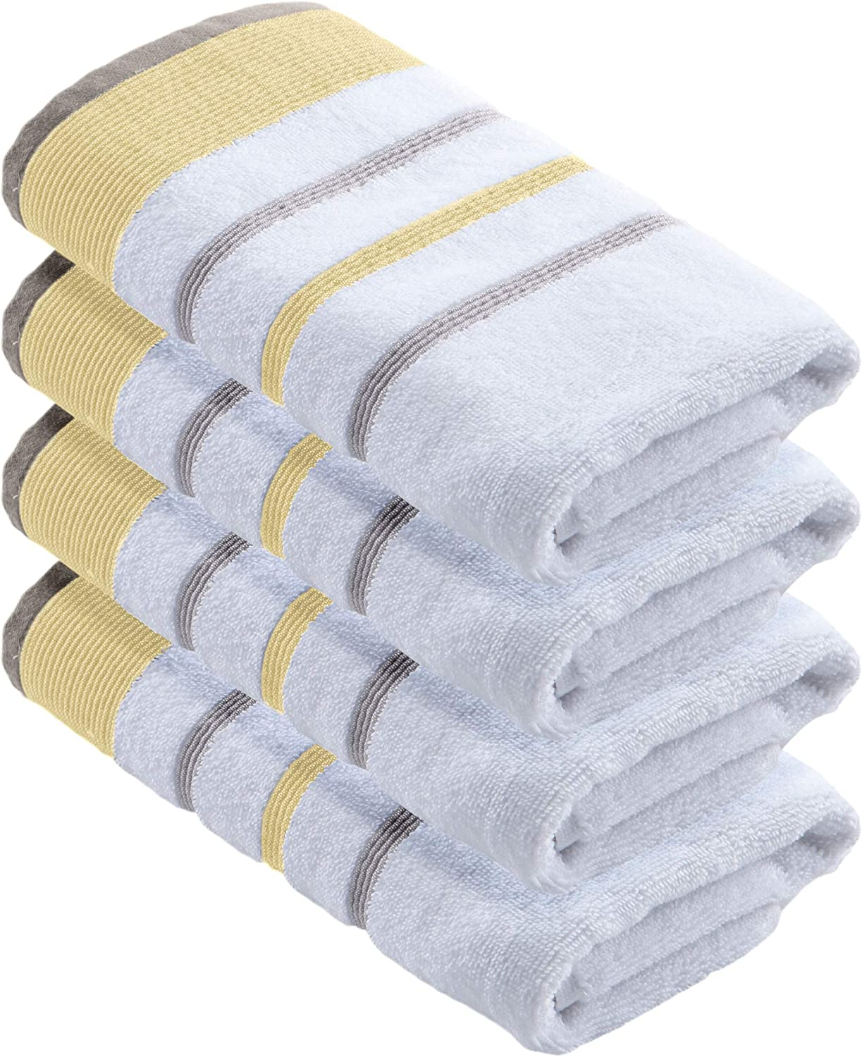 100% Turkish Cotton, Striped Hand Towel Set (16 x 30 inches) Oversized Decorative Luxury Hand Towels. Noelle Collection (Set of 4, Gold / Grey)