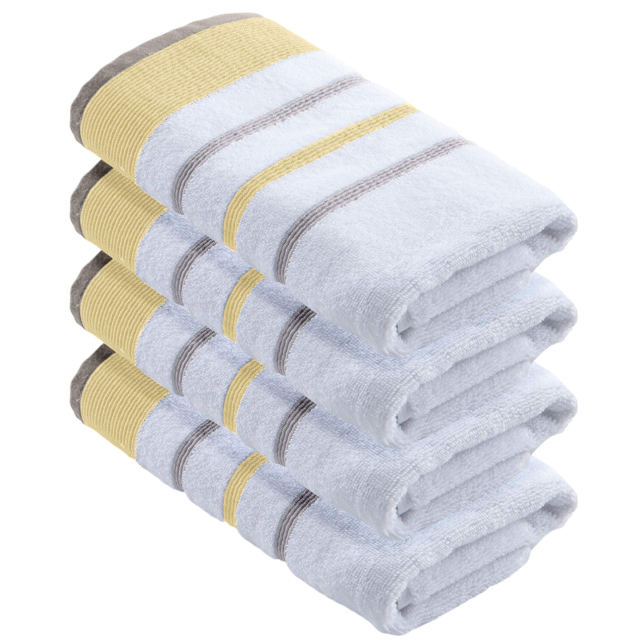 Great Bay Home 4-Pack 100% Turkish Cotton Striped Decorative Hand Towels, Soft, Ultra-Absorbant. Includes 4 Hand Towels. Noelle Collection Brand. (Hand Towels, Gold/Grey)