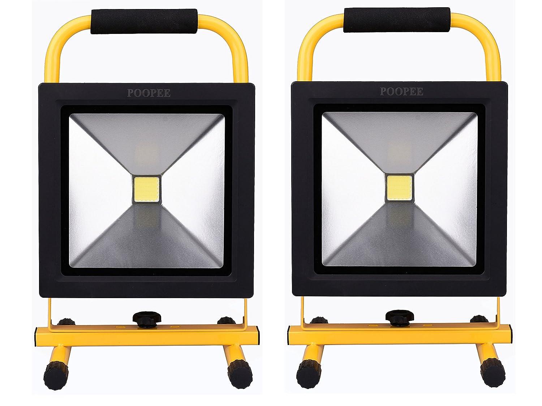 POOPEE LED投光器 充電式 超薄型 50W-バッテリー内蔵 ポータブル式 35200mAh大容量 AC/DC兼用 広角 昼白色 角度調整可 防水 夜釣り 2個セット 【一年保証】 B06XPFGY6F 20000