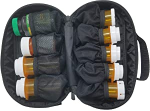 StarPlus2 Small Padded Modular Pill Bottle Organizer, Case, Carrier for Medications, Vitamins, and Medical Supplies - for Home Storage and Travel - Black (Without Lock)