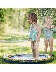 Kids Water Spray Pool Toy, PVC Sprinkler Cushion for Summer Fun Beach Outdoor Lawn Garden Patio Play (Yellow 100cm)