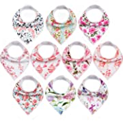"10-Pack Baby Bandana Bibs Upsimples Baby Girl Bibs for Drooling and Teething, 100% Organic Cotton and Super Absorbent Bibs Baby Shower Gift - ""Blossom Set"""