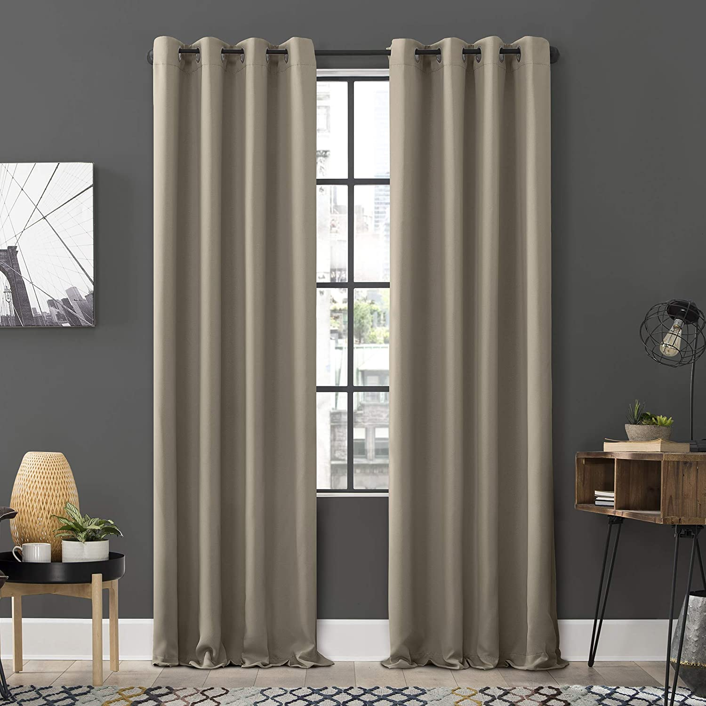 Amazon Com Sun Zero Soho 2 Pack Energy Efficient Blackout Grommet Curtain Panel Pair 54 X 84 Stone Home Kitchen