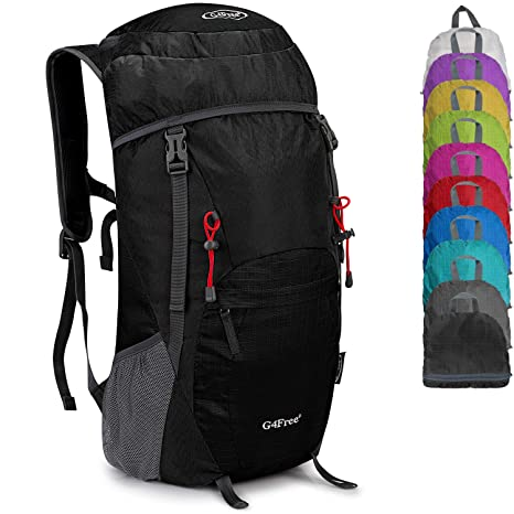 37db69c2a2 G4Free Large 40L Lightweight Water Resistant Travel Backpack/Foldable  Packable Hiking Daypack(Black)