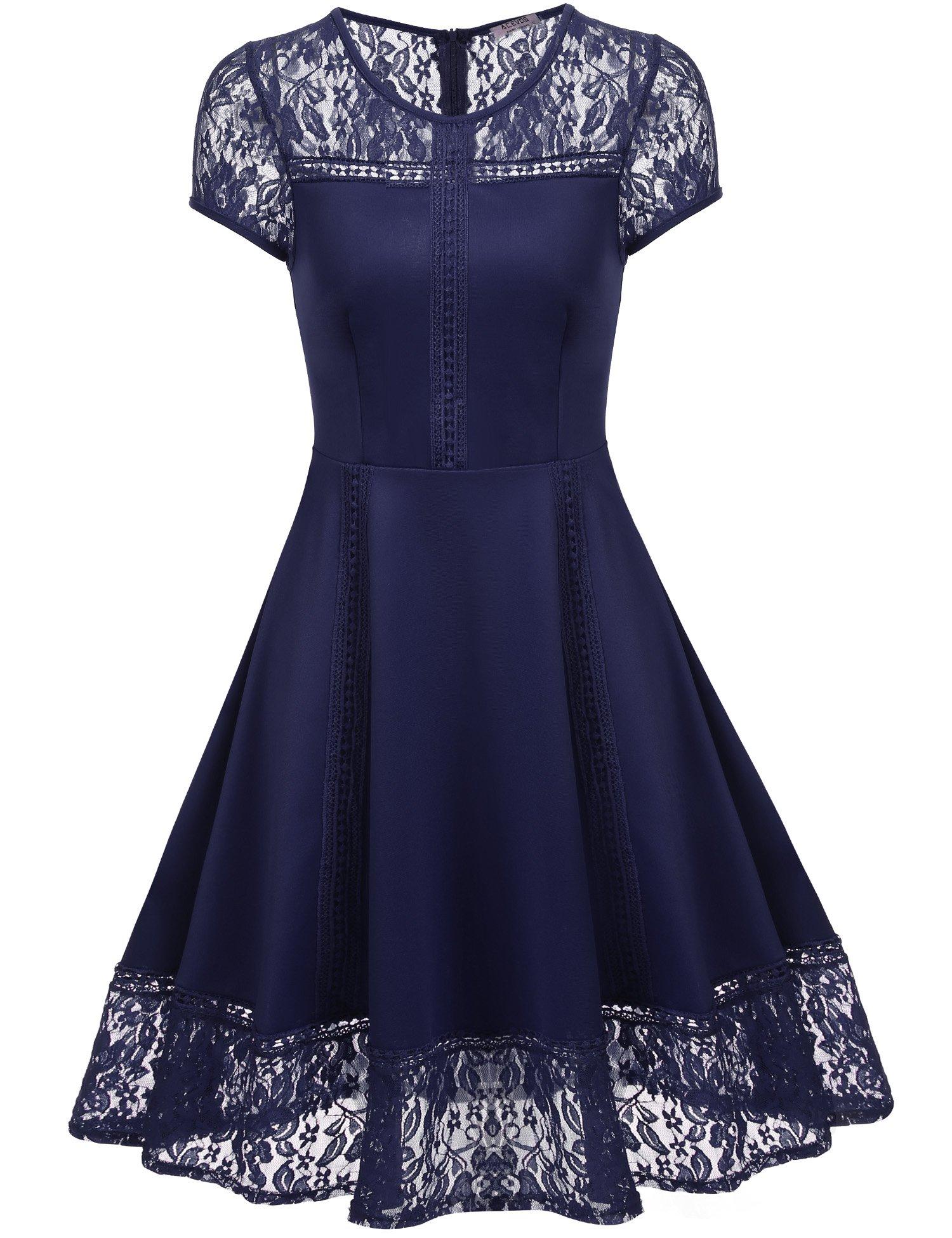 ACEVOG Women's Vintage Retro 1950s Floral Lace Cap Sleeve Elegant Cocktail Swing Dress Navy Blue X-Large