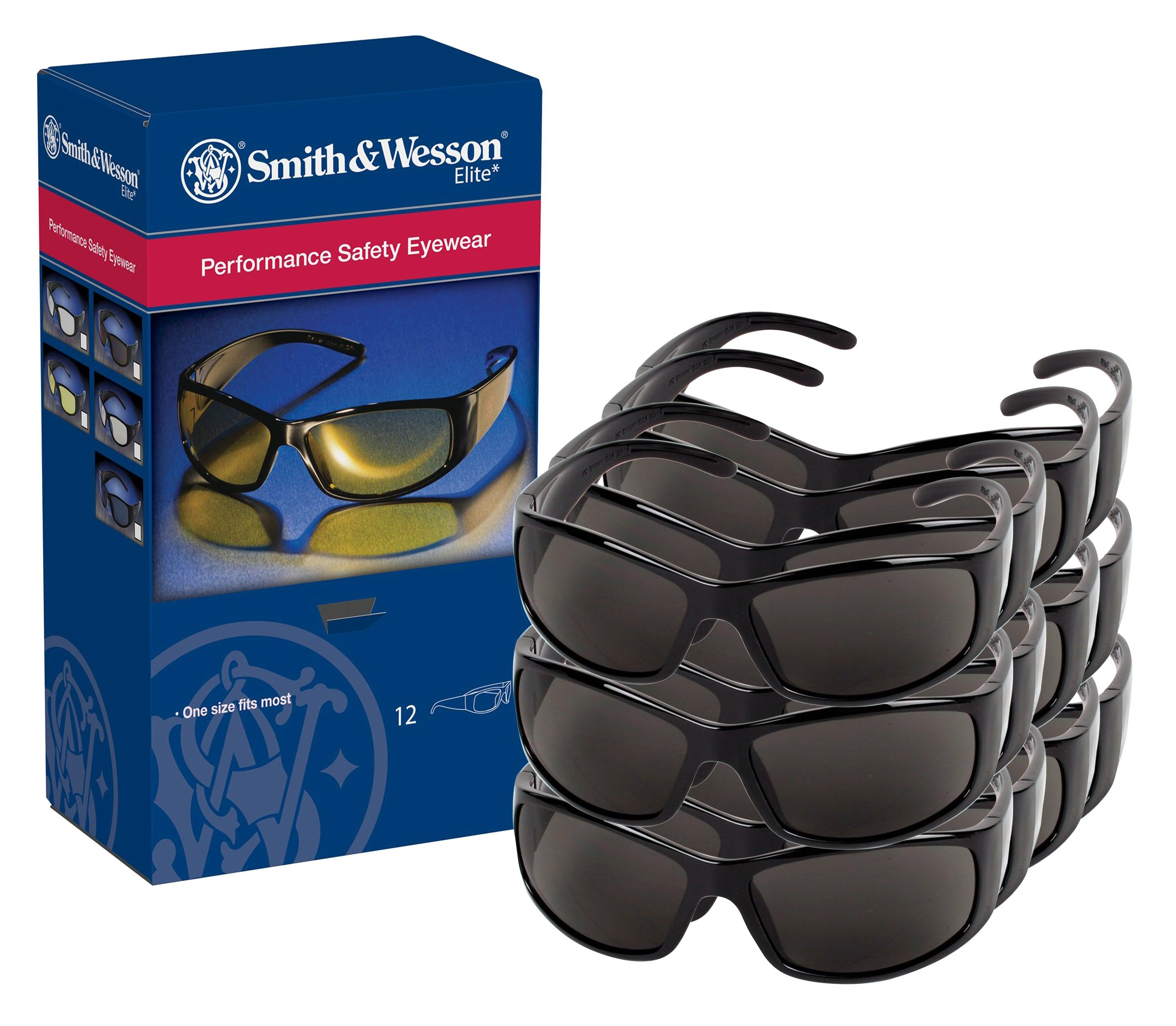 Smith and Wesson Safety Glasses (21303), Elite Safety Sunglasses, Smoke Anti-Fog Lenses with Black Frame, 12 Pairs / Case by Jackson Safety (Image #5)