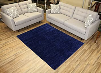 Shaggy Collection Solid Color Shag Area Rugs (Navy Blue, 5u0027x7u0027)