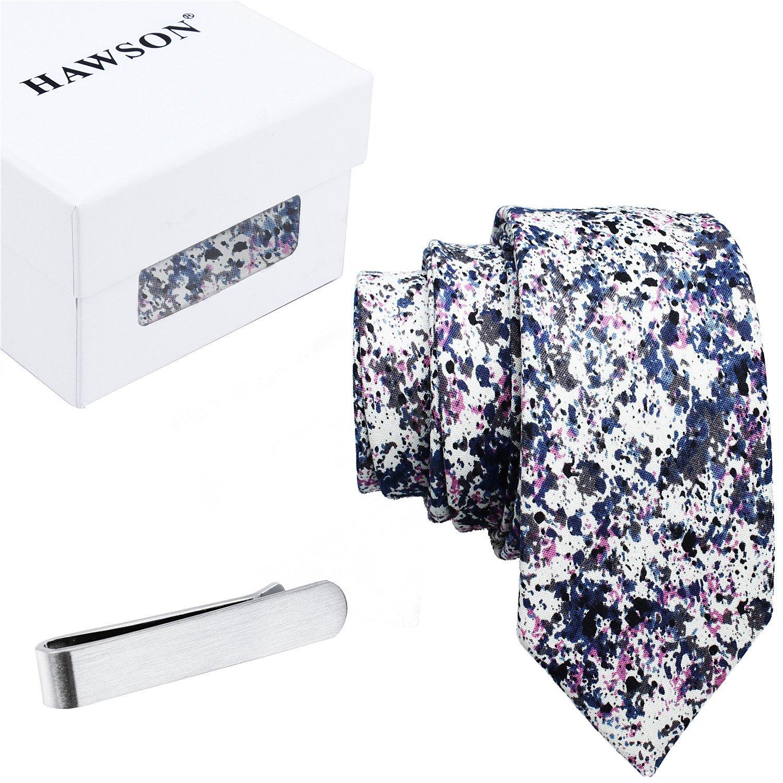 Skinny Floral Painted Ties for Men Cotton Necktie with Tie Bar Clip (2 inch Necktie)