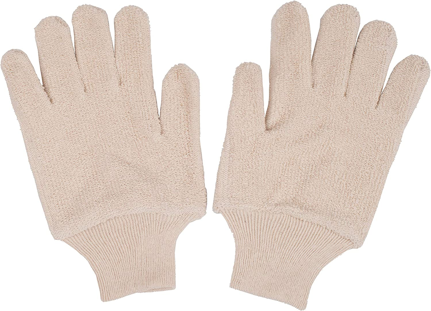 12 pairs Terry Cloth Gloves 32 oz. Industrial Oven Gloves for Heat Care. General Purpose Gloves with Elestic Wrist. Heat Resistant Gloves for Baking, Cooking Needs. Natural Color.