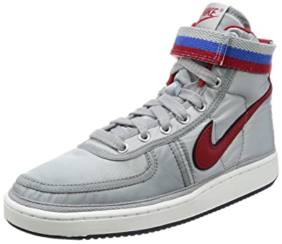 Nike Mens Vandal High Supreme Silver/Red Nylon Size 9.5