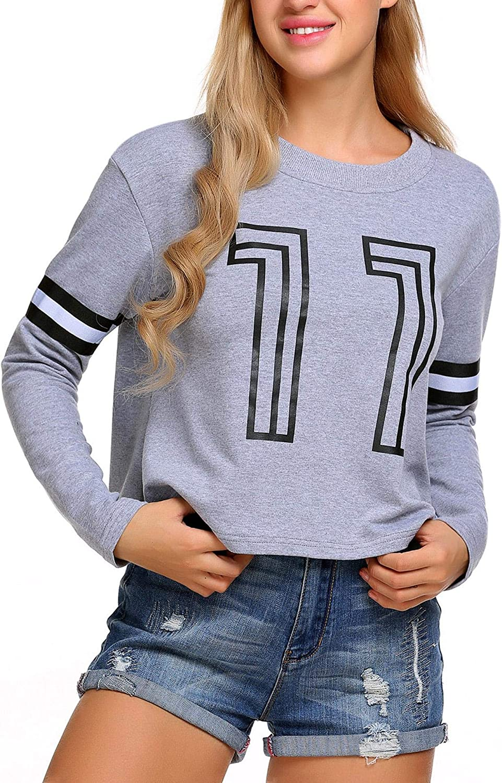 Baorin Women Casual O-Neck Long Sleeve Print Pullover Short Sweatshirt Fashion Hoodies