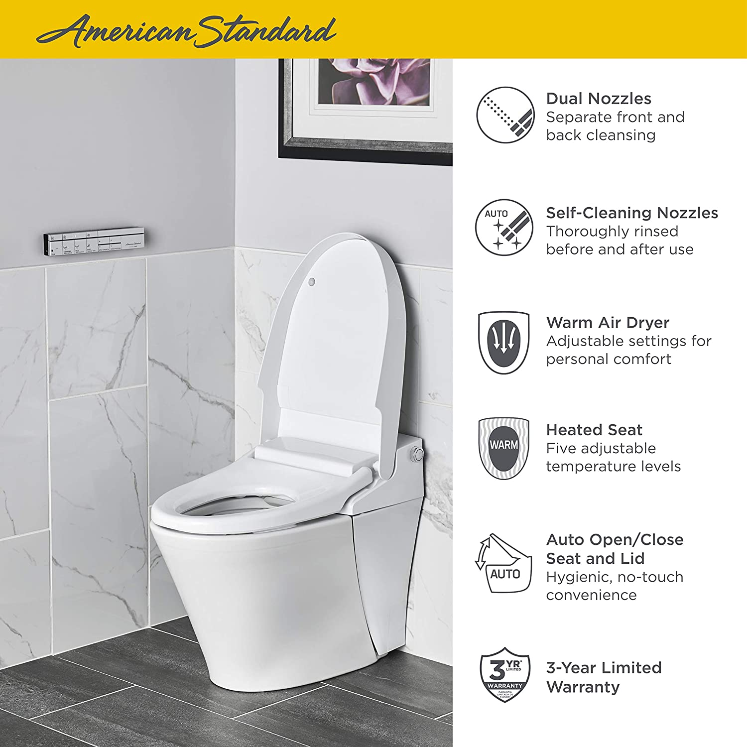 Alabaster White American Standard 297AA204-291 Advanced Clean 100 SpaLet Toilet