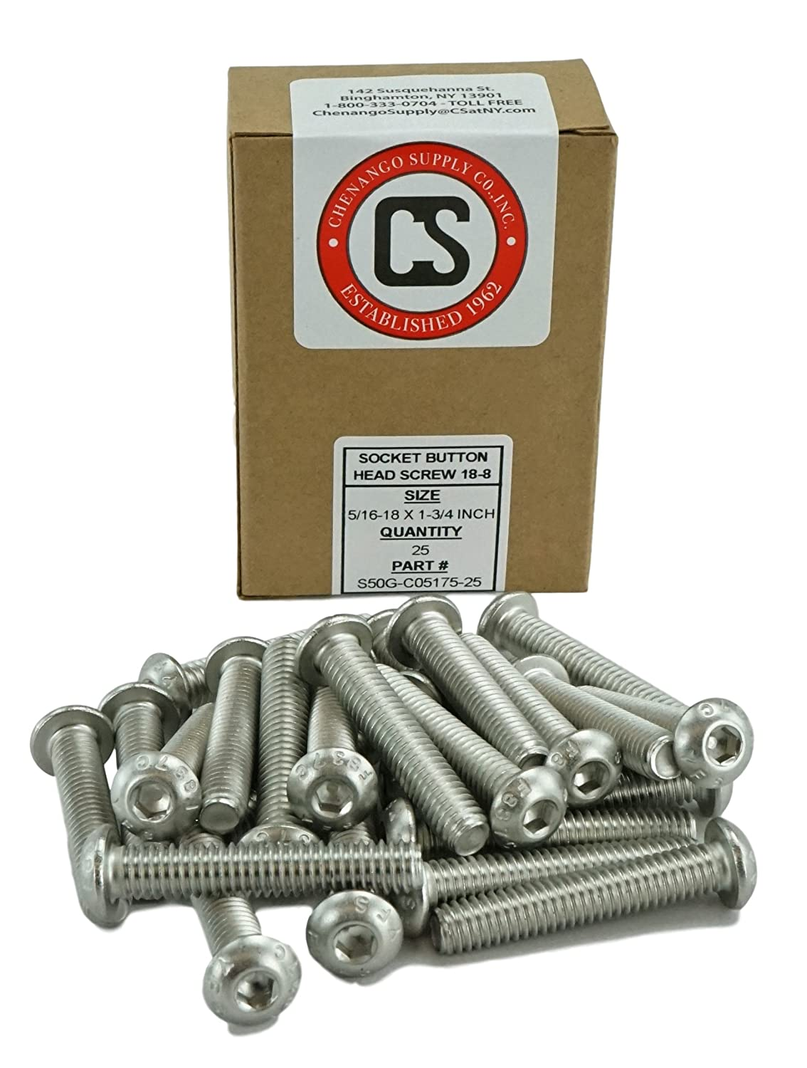 Coarse Thread Stainless Steel 18-8 5//16-18 x 1-1//2 Full Thread Socket Button Head Cap Screws Hex Drive Stainless 5//16-18 x 1-1//2 5//8 to 3 Available